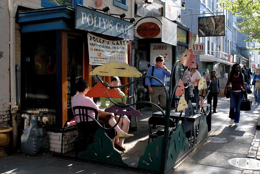 WASHINGTON, DC -- Washingtonians relax at Polly's Cafe, a popular restaurant in the hip U Street corridor...Photo by Susana Raab..