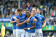 Portsmouth Players Celebrate after Portsmouth Midfielder, Jamal Lowe (10) scores a goal to make it 3-0 during the EFL Sky Bet League 1 match between Portsmouth and Oxford United at Fratton Park, Portsmouth, England on 18 August 2018.