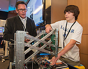 Houston ISD students get hands-on experience with a variety of new technologies at the Pumps & Pipes conference held at the Houston Methodist Research Institute, December 8, 2014.