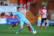 Morecambe's Andrew Fleming and Exeter City's Tom McCready during the Sky Bet League 2 match between Exeter City and Morecambe at St James' Park, Exeter, England on 30 April 2016. Photo by Graham Hunt.