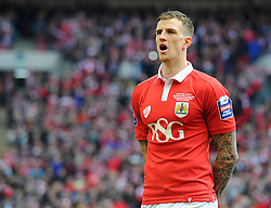 Bristol City's Aden Flint sings the national anthem  - Photo mandatory by-line: Joe Meredith/JMP - Mobile: 07966 386802 - 22/03/2015 - SPORT - Football - London - Wembley Stadium - Bristol City v Walsall - Johnstone Paint Trophy Final