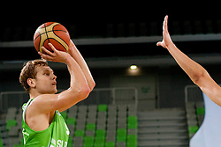 Jaka Blazic of Slovenia during friendly basketball match between National teams of Slovenia and Croatia of Adecco Ex-Yu Cup 2012 as part of exhibition games 2012, on August 4, 2012, in Arena Stozice, Ljubljana, Slovenia. (Photo by Matic Klansek Velej / Sportida)