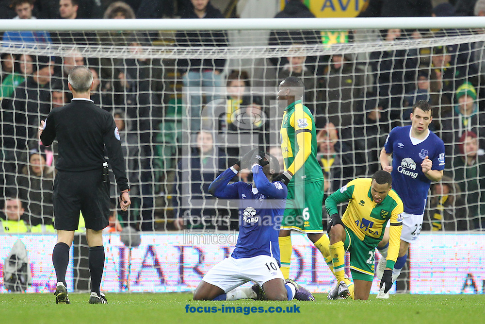 Romelu Lukaku of Everton rues a missed chance during the Barclays Premier League match at Carrow Road, Norwich<br /> Picture by Paul Chesterton/Focus Images Ltd +44 7904 640267<br /> 12/12/2015
