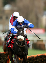 Malaya ridden by Harry Cobden goes onto win the Matchbook Imperial Cup Handicap Hurdle at Sandown Park Racecourse, Esher.