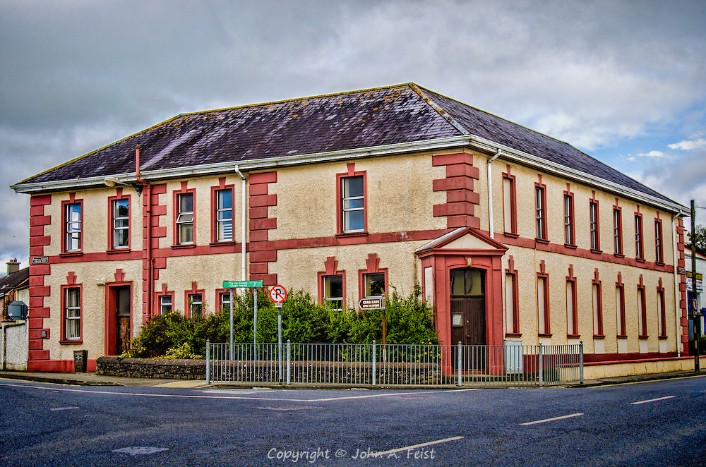 In the heart of CastleIsland, County Kerry, Ireland is this building.  I love the colors.  On the top floor is the town's library which was originally a Carnegie Library.  We have a family member who was the librarian there for many years.
