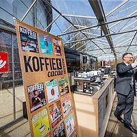 Nederland, Amsterdam, 10 maart 2017.<br />De stand van Illy tijdens de Amsterdam Coffee Festival in de Gashouder op het Westergasfabriek terrein.<br />Op de foto: Luca Turello van Illy tijdens zijn workshop Green Coffee Quality Determinants in the LAB.<br /><br /><br /><br />Foto: Jean-Pierre Jans