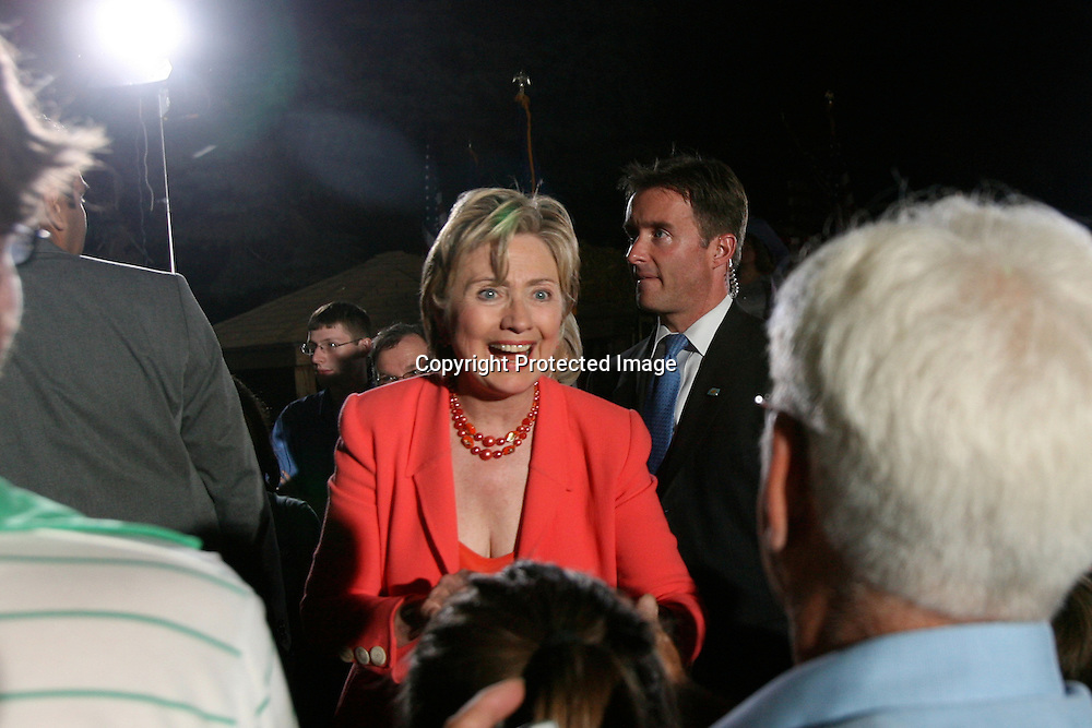 Democratic Presidential candidate and U.S. Senator Hillary Rodham Clinton (D-NY) greets supporters at a rally with her husband and former President Bill Clinton (not pictured) at the Iowa State Fairgrounds in Des Moines, Iowa, July 2, 2007.