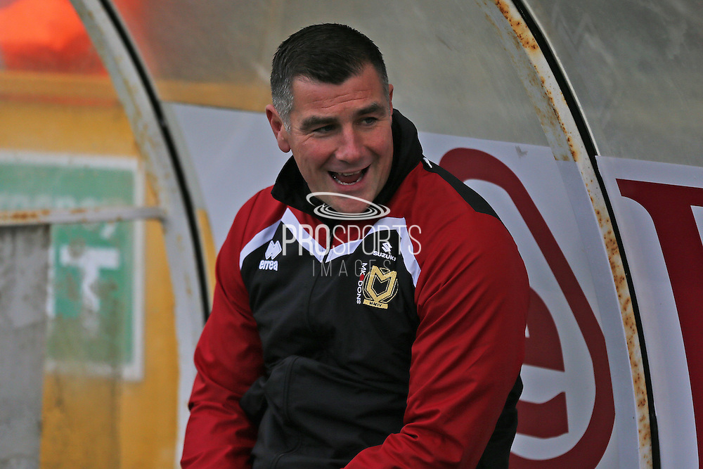 MK Dons head coach Richie Barker in the dug out during the EFL Sky Bet League 1 match between Bristol Rovers and Milton Keynes Dons at the Memorial Stadium, Bristol, England on 19 November 2016. Photo by Gary Learmonth.