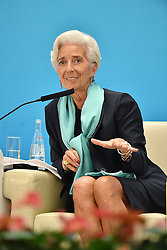 HANGZHOU, Sept. 3, 2016 (Xinhua) -- International Monetary Fund Managing Director Christine Lagarde speaks at the Business 20 (B20) summit in Hangzhou, capital of east China's Zhejiang Province, Sept. 3, 2016. (Xinhua/Li Xin)(mcg) (Credit Image: © Li Xin/Xinhua via ZUMA Wire)
