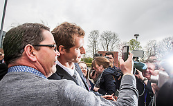 Andy Murray leaving after receiving the Freedom of Stirling from Stirling Council, who have recognised the Wimbledon champion's sporting achievements at a special council meeting at Dunblane High School.<br /> &copy; Michael Schofield.