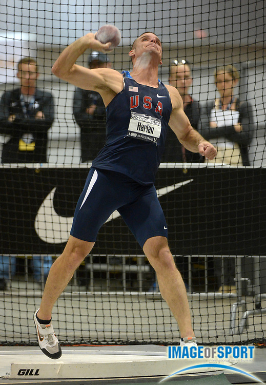 Mar 1, 2013; Albuquerque, NM, USA; Ryan Harlan throws 55-2 1/4 (6.82m) in the heptathlon shot put for 902 points  in the 2013 USA Indoor Track & Field Championships at the Albuquerque Convention Center.