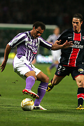 Daniel Omoya Braaten attacks for Toulouse. Toulouse v Paris St Germain,French Ligue 1, Stade Municipal, Toulouse, France, 22nd March 2009.