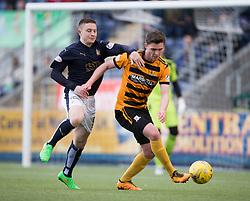 Falkirk's John Baird and Alloa Athletic's Connor McManus. <br /> Falkirk 2 v 0 Alloa Athletic, Scottish Championship game played 5/3/2016 at The Falkirk Stadium.
