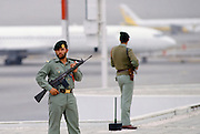 Armed guard for VIP arrival at Dubai International airport, United Arab Emirates
