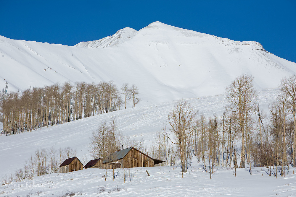 Snowy winter landscapes in the San Juan Mountain Range near the old mining town of Telluride, Colorado