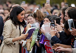 The Duchess of Sussex meets members of the public at the Royal Botanic Gardens in Melbourne on the third day of the royal couple's visit to Australia.