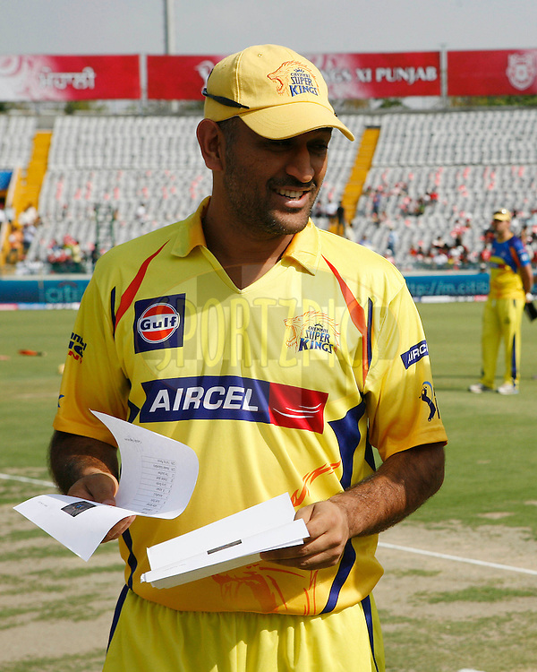 Chennai Super Kings captain Mahender Singh Dhoni before the match 9 of the Indian Premier League ( IPL ) Season 4 between the Kings XI Punjab and the Chennai Super Kings held at the PCA stadium in Mohali, Chandigarh, India on the 13th April 2011..Photo by Money Sharma/BCCI/SPORTZPICS