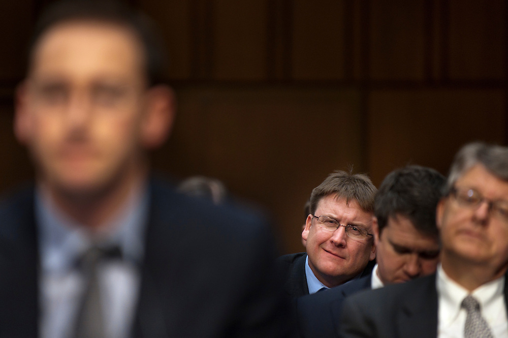 DEAN TOFTELAND, farmer from Luverne, MN. looks on as Henri Steenkamp, CFO of MF Global testifies before a Senate Agriculture, Nutrition and Forestry Committee hearing on the circumstances surrounding the bankruptcy of MF Global Holdings Ltd.