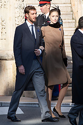 Pierre Casiraghi, Beatrice Borromeo are arriving to the St. Nicholas Cathedral to attend the solemn mass during the National Day ceremonies. Monaco on november 19, 2018. Photo by ABACAPRES.COM