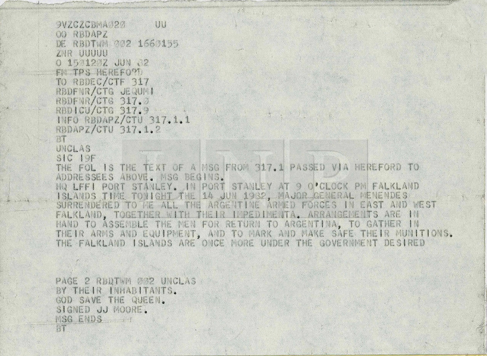 © Licensed to London News Pictures. London, UK. 03/04/2012 Falklands Telex sells for 7,250GBP. FILE PICTURE DATED 15/02/2012. A copy of the original Falklands War Surrender Telex, announcing the laying down of arms by the Argentine Forces under General de Brigada Mario Menendez in June 1982, is to be sold at Bonhams Marine Sale on 3 April 2012. The auction takes place immediately following the 30th anniversary of the Argentine invasion of the Falkland Islands (2 April 1982).. Photo credit : London News Pictures