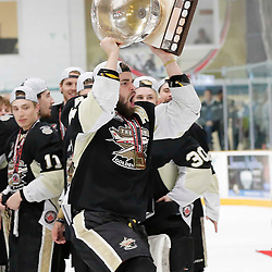 TRENTON, ON  - MAY 6,  2017: Canadian Junior Hockey League, Central Canadian Jr. &quot;A&quot; Championship. The Dudley Hewitt Cup Championship Game between The Trenton Golden Hawks and The Georgetown Raiders. Nick Boddy #44 of the Trenton Golden Hawks during post game celebrations. <br /> (Photo by Amy Deroche / OJHL Images)