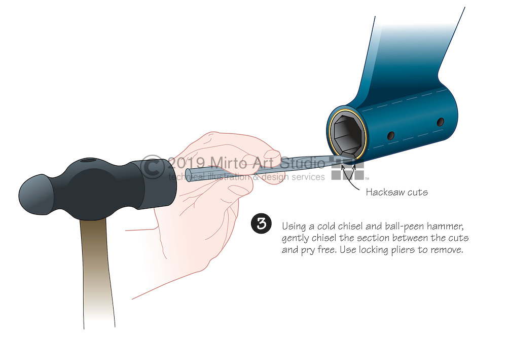 Vector illustration showing the sequence of removing a cutlass bearing from the propeller strut. The cutlass bearing has a brass sleeve and an octagonal rubber bushing that supports the propeller shaft.
