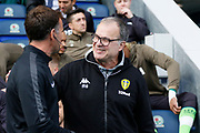 Leeds United Manager Marcelo Bielsa and Fourth Official Philip Dermott during the EFL Sky Bet Championship match between Blackburn Rovers and Leeds United at Ewood Park, Blackburn, England on 20 October 2018.