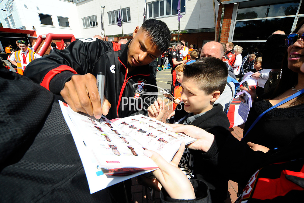 Lys Mousset of AFC Bournemouth signing his autograph for a fan on arrival for the Premier League match between Bournemouth and Burnley at the Vitality Stadium, Bournemouth, England on 13 May 2017. Photo by Graham Hunt.