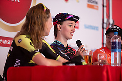 Katarzyna Niewiadoma (POL) of CANYON//SRAM Racing talks during post-race press conference after the Amstel Gold Race - Ladies Edition - a 126.8 km road race, between Maastricht and Valkenburg on April 21, 2019, in Limburg, Netherlands. (Photo by Balint Hamvas/Velofocus.com)