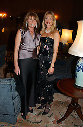 Left to right, MIRIAM FRANCOME and LUCY SANGSTER at the 2004 Cartier Racing Awards in association with the Daily Telegraph, held at the Four Seasons Hotel, London on 17th November 2004.<br />