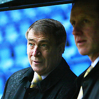 St Johnstone v Queen of the South....20.12.03<br /> St Johnstone Chairman Geoff Brown with his manager Billy Stark as they wait for a decision over whether the game will be on or off.<br /> Picture by Graeme Hart.<br /> Copyright Perthshire Picture Agency<br /> Tel: 01738 623350  Mobile: 07990 594431