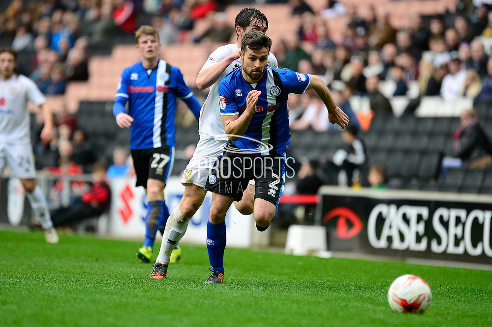 Milton Keynes Dons defender George Baldock (2) battles for possession during the EFL Sky Bet League 1 match between Milton Keynes Dons and Rochdale at stadium:mk, Milton Keynes, England on 11 March 2017. Photo by Dennis Goodwin.