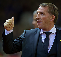 LIVERPOOL, ENGLAND - Wednesday, September 23, 2015: Liverpool manager Brendan Rodgers before the Football League Cup 3rd Round match against Carlisle United at Anfield. (Pic by David Rawcliffe/Propaganda)
