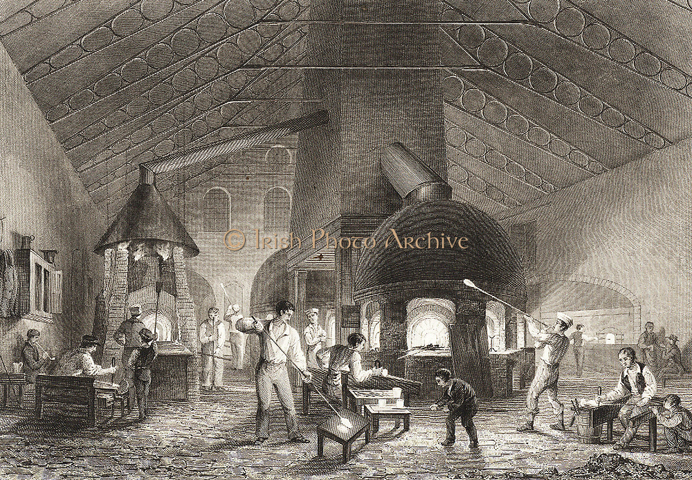 Men and boys at Aspley Pellatt's Falcon Glass Works, Holland Street, Blackfriars, London, 1842.  Note cast iron roof trusses. Between 1824-1827) Michael Faraday  began investigations of optical glass here before a furnace was built in the Royal Institution.