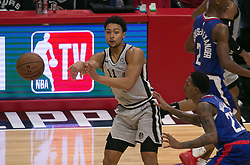 November 15, 2018 - Los Angeles, California, U.S - Bryn Forbes #11 of the San Antonio Spurs passes the ball as Lou Williams #23 of the Los Angeles Clippers plays defense during their NBA game on Thursday November 15, 2018 at the Staples Center in Los Angeles, California. (Credit Image: © Prensa Internacional via ZUMA Wire)