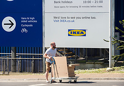© Licensed to London News Pictures;01/06/2020; Bristol, UK. A man is seen pushing a trolley with goods at the Ikea store at Bristol Eastgate which opened at 10am after being shut during the Covid-19 coronavirus lockdown. Many Ikea stores are opening across the UK as some more restrictions under the coronavirus lockdown have been eased by the UK Government. From Monday 01 June groups of up to 6 people from different households will be able to meet outside but must maintain social distancing to prevent the spread of the Covid-19 virus, and car showrooms and open air markets can also open. Photo credit: Simon Chapman/LNP.