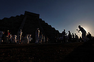PHOTO PETER PEREIRA/4SEE<br /> <br /> ++ Over 15 thousand people congregated in front of the famous pyramid at Chichen-Itza, Mexico to celebrate the arrival of the Equinox signaling the begining of Spring.  The famous Maya ruin is popular at the Equinox when the serpents back shows on the side of the stairway that leads to the top.