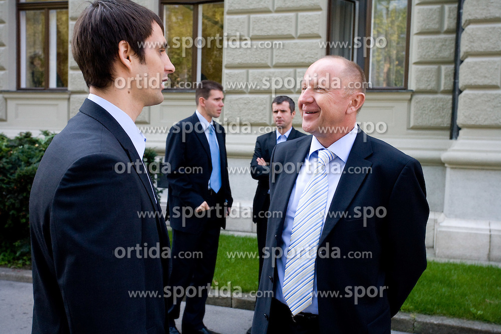 Domen Lorbek and Dusan Sesok of Slovenian basketball national team after Eurobasket 2009 before the reception at president of Slovenia dr. Danilo Türk,  on September 28, 2009, in Presernova 8, Ljubljana, Slovenia.  (Photo by Vid Ponikvar / Sportida)
