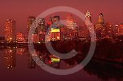 Philadelphia Skyline, Night Auto Light Streaks, Schuylkill River, before Comcast Skyscraper
