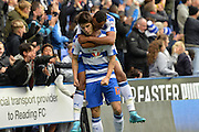 Reading's Jordan Obita congratulates Reading's Lucas Piazon for creating Reading's first goal during the Sky Bet Championship match between Reading and Charlton Athletic at the Madejski Stadium, Reading, England on 17 October 2015. Photo by Mark Davies.