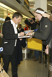 Actor Hugh Grant arrives at Tegel Airport for the 63rd Berlin International Film Festival, Berlin, Germany,  February 7, 2013. Photo by Imago / i-Images...UK ONLY