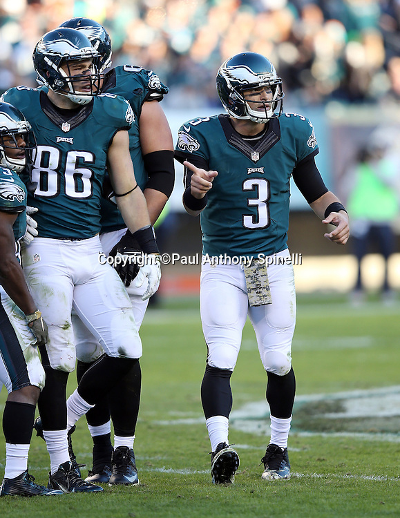 Philadelphia Eagles quarterback Mark Sanchez (3) points as he looks toward the bench area during the 2015 week 10 regular season NFL football game against the Miami Dolphins on Sunday, Nov. 15, 2015 in Philadelphia. The Dolphins won the game 20-19. (©Paul Anthony Spinelli)