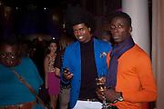 PRINCE CASSIUS; LEE CLOTHESHORSE; , Aldo launch. One Marylebone Rd. London. 21 June 2011<br /> <br />  , -DO NOT ARCHIVE-© Copyright Photograph by Dafydd Jones. 248 Clapham Rd. London SW9 0PZ. Tel 0207 820 0771. www.dafjones.com.