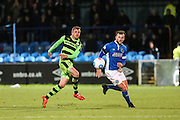 Forest Green Rovers Elliott Frear(11) and Macclesfield's Andy Halls during the Vanarama National League match between Macclesfield Town and Forest Green Rovers at Moss Rose, Macclesfield, United Kingdom on 12 November 2016. Photo by Shane Healey.