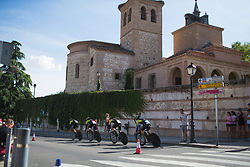 Mitchelton Scott Cycling Team riders head out for their lap on Stage 1 of the Madrid Challenge - a 12.6 km team time trial, starting and finishing in Boadille del Monte on September 15, 2018, in Madrid, Spain. (Photo by Balint Hamvas/Velofocus.com)