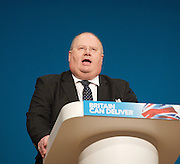 Conservative Party Conference, ICC, Birmingham, Great Britain <br /> Day 2<br /> 8th October 2012 <br /> <br /> <br /> <br /> Rt Hon Eric Pickles MP <br /> Secretary of State of Communities and Local Government <br /> <br /> <br /> <br /> Photograph by Elliott Franks<br /> <br /> <br /> Tel 07802 537 220 <br /> elliott@elliottfranks.com<br /> <br /> ©2012 Elliott Franks<br /> Agency space rates apply