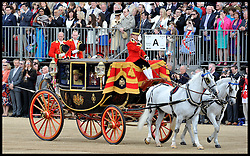 HM The Queen and the Duke Of Edinburgh arrive for the  Queen's Trooping of the Colour, The Queen's Birthday Parade, on Horse Guards Parade, Saturday June 16, 2012. Photo by Andrew Parsons/i-Images..All Rights Reserved ©Andrew Parsons/i-Images .See Special Instructions