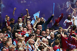 May 27, 2019 - London, England, United Kingdom - Aston Villa fans celebrate following Anwar El Ghazi (22) of Aston Villa scores a goal to make it 1-0 during the Sky Bet Championship Play Off Final between Aston Villa and Derby County at Wembley Stadium, London on Monday 27th May 2019. (Credit Image: © Mi News/NurPhoto via ZUMA Press)