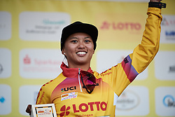 Coryn Rivera (USA) earns the race leader's jersey at Lotto Thuringen Ladies Tour 2018 - Stage 1, an 82.5 km road race starting and finishing in Schleusingen, Germany on May 28, 2018. Photo by Sean Robinson/Velofocus.com