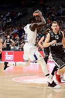 Real Madrid's Othello Hunter and Brose Bamberg's Janis Strelnieks during Turkish Airlines Euroleague between Real Madrid and Brose Bamberg at Wizink Center in Madrid, Spain. December 20, 2016. (ALTERPHOTOS/BorjaB.Hojas)